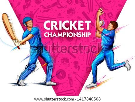 illustration of batsman and bowler playing cricket championship sports 2019 Stockfoto ©