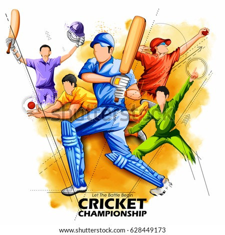 illustration of batsman and bowler playing cricket championship sports