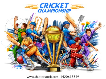 illustration of batsman player playing cricket championship sports 2019