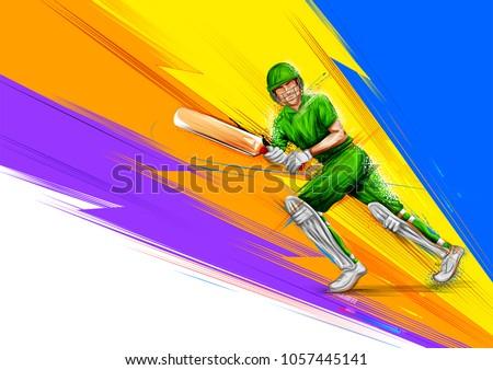 illustration of batsman playing cricket championship sports