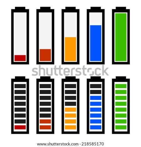 Illustration of battery level indicators. Battery life, accumulator, battery running low, battery recharging vector.