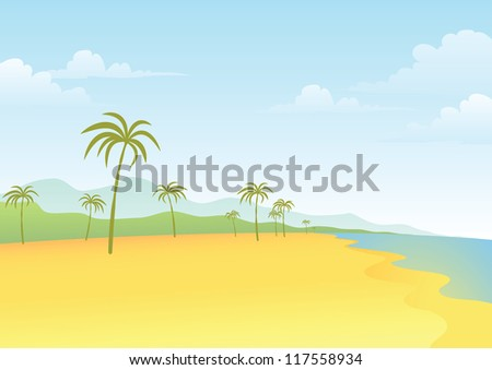 Illustration of Beach and Coconut Tree