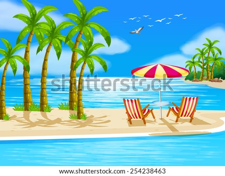 illustration of beach view with