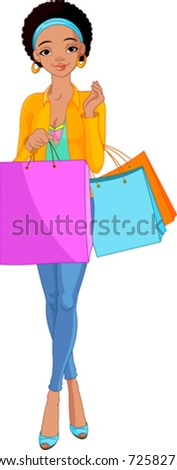 Illustration of Beautiful African Girl with shopping bags