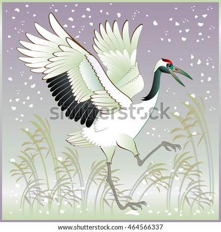 illustration of beautiful crane