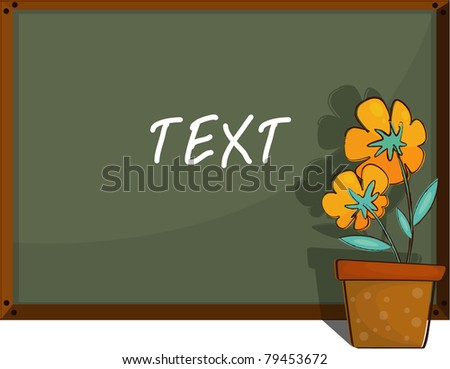 illustration of beautiful flowers pot and blackboard.