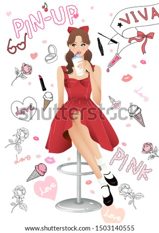 Illustration of Beautiful Girl; Fashion Girl; Pinup Girl