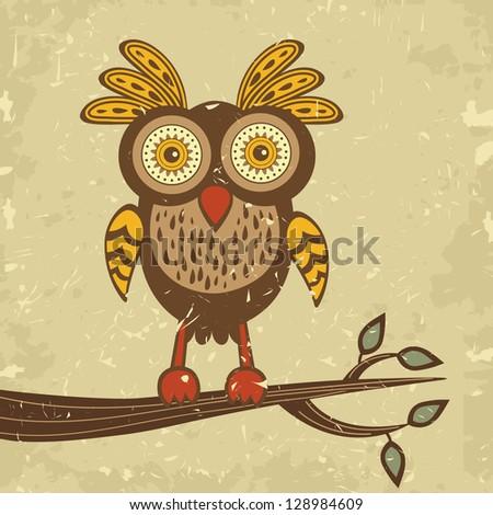 Illustration of beautiful retro style owl