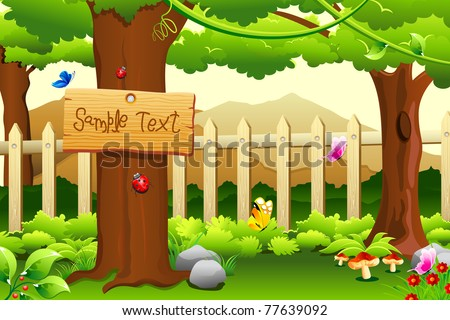 illustration of beautiful rural garden scene with trees and mountain