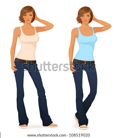 illustration of beautiful short haired young girl in flare jeans and tank top