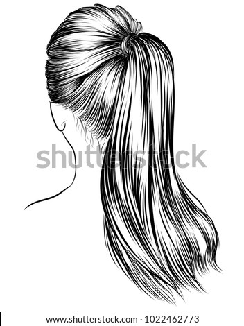 Illustration of beauty woman with luxurious classic high long ponytail hairstyle.Hand-drawn Idea for business card typography vector.Back to school style.Print for t-shirt