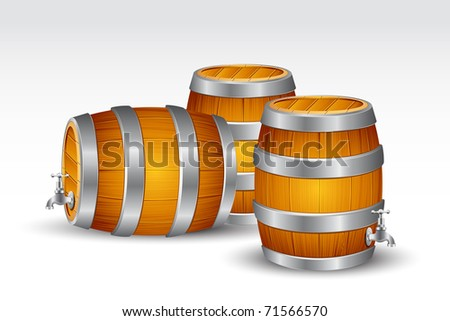 illustration of beer barrel with tab on white background