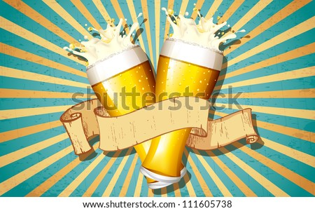 illustration of beer glass with ribbon on victorian background