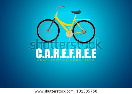 illustration of bicycle in motivational carefree background - stock vector