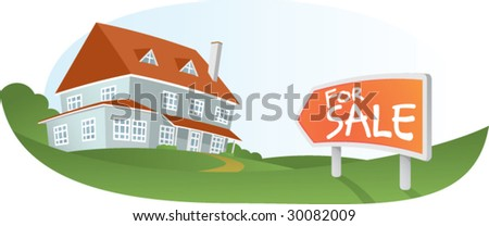 Illustration of Big House for sale - stock vector