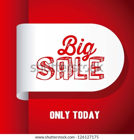 Illustration of  Big Sale label, in red color, vector illustration