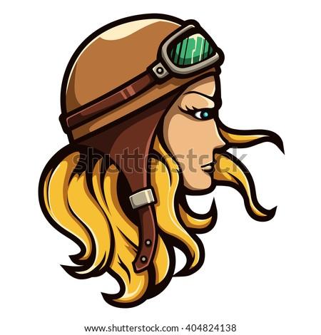 illustration of biker blonde