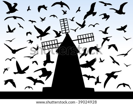 Illustration of birds and windmill