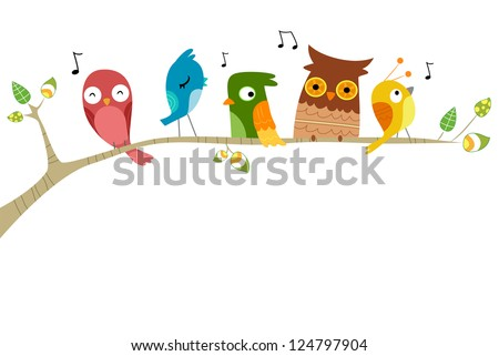 Illustration of Birds Singing perched on a branch of a tree