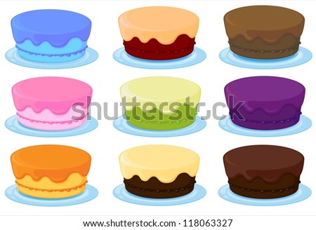illustration of birthday cakes on a white background
