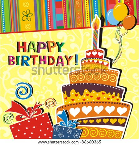 illustration of birthday card with birthday cake balloons ribbons and gift on abstract background Vector
