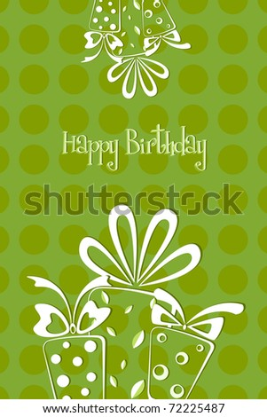 illustration of birthday card with gift balloons and cake on abstract background