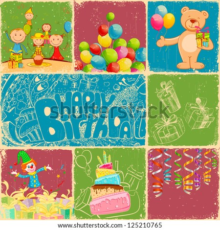 illustration of birthday collage in retro style with different object