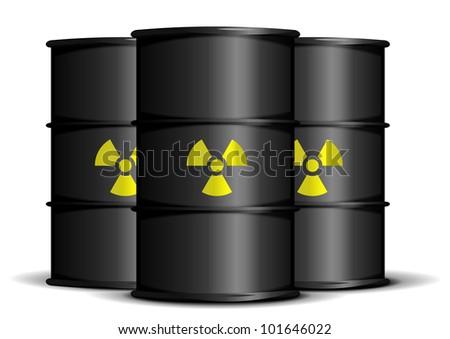 illustration of black barrels with radioactive warning labels