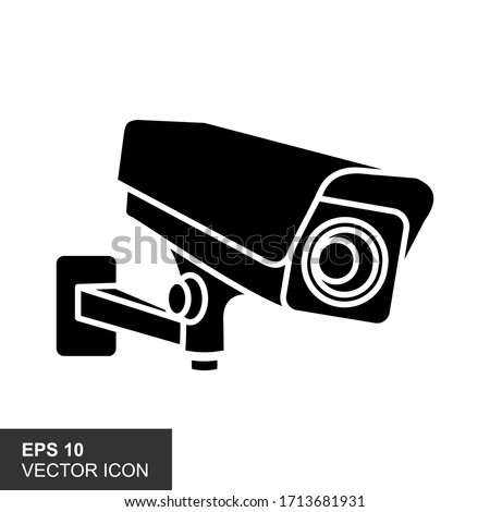 Illustration of black icon for an isolated CCTV camera with a white background. Photo stock ©