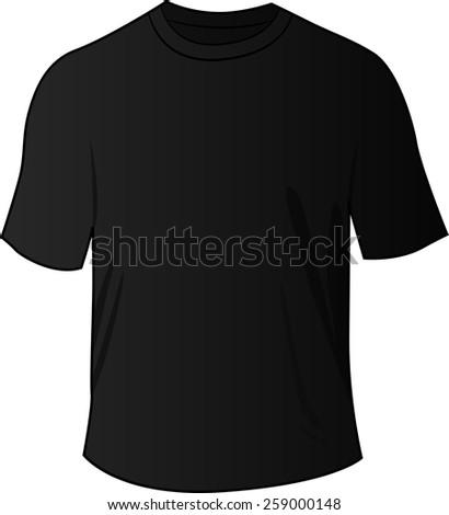illustration of blank black front tee shirt