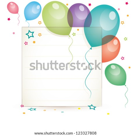 illustration of blank card with balloons and confetti