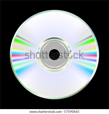Illustration of blank CD or DVD disc on black background. Vector
