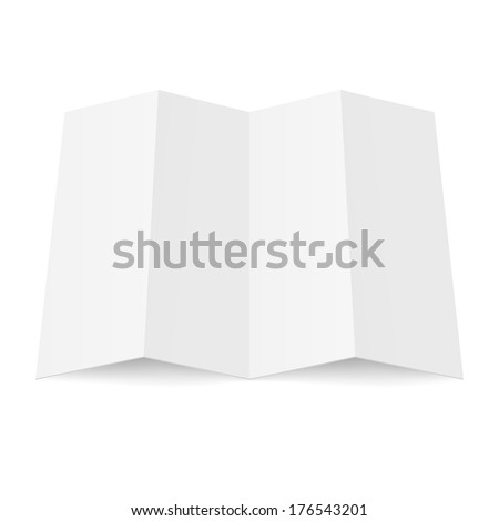 Illustration of blank fourfold booklet on white background