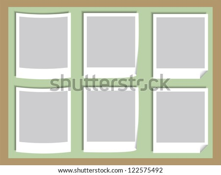 Illustration of Blank Photos on the Board - stock vector