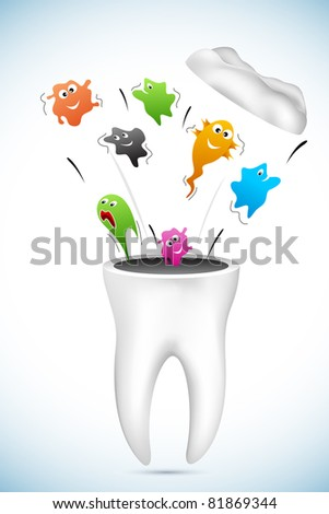 Illustration of blast of germs from healthy tooth stock vector