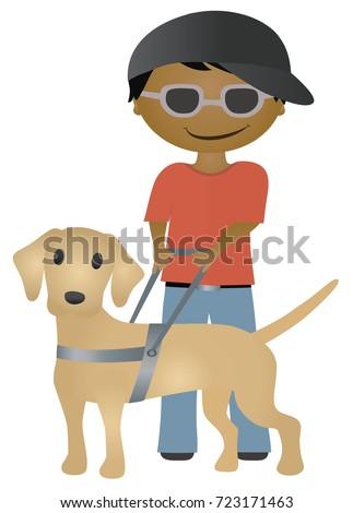 illustration of blind boy with
