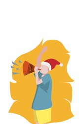 illustration of blowing a trumpet on new year's and christmas
