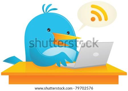 Illustration of Blue Bird Using Laptop on the desk