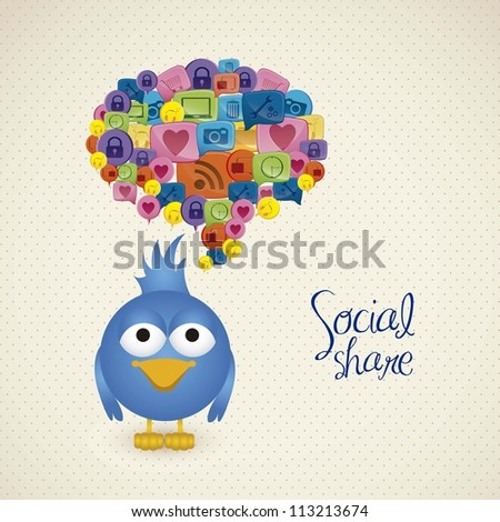 Illustration of blue bird with social text balloon, social networking and communication, vector illustration