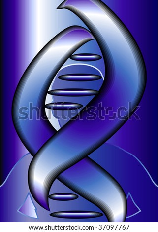 Illustration of blue colour of DNA  model	 - stock vector