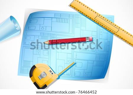 illustration of blue print with measuring tape scale and pencil
