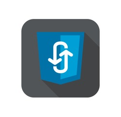 Illustration of blue shield with programming technology ajax asynchronous JavaScript, isolated web site development icon