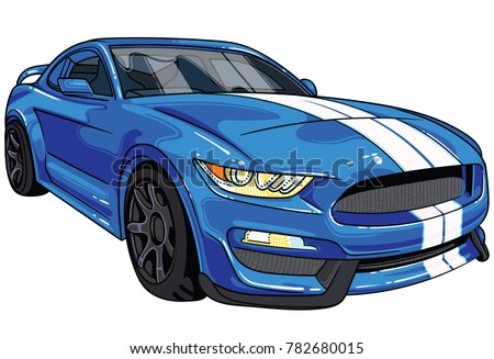 Illustration of blue  sport car Mustang with two white strips on car hood . All illustrations are easy to use and highly customizable, logical layered to fit your needs.