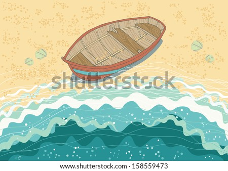 Illustration of boat at the coast