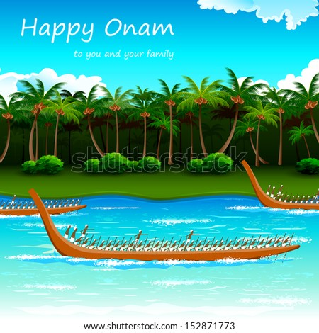 illustration of Boat Race of Kerla on Onam