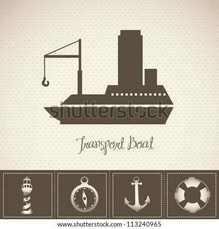 Illustration of boat, with offshore icons, vector illustration
