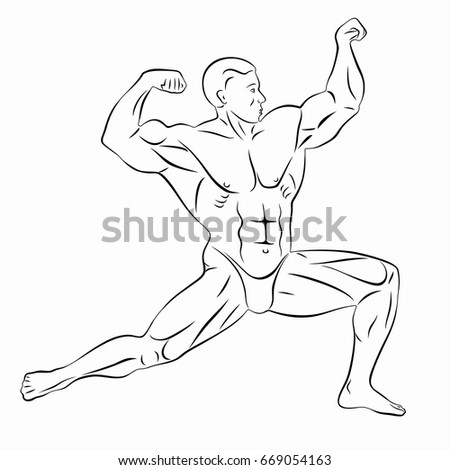 Illustration Of Bodybuilder Black And White Drawing On A White