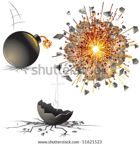 Illustration of bomb at different stages-detailed vector illustration