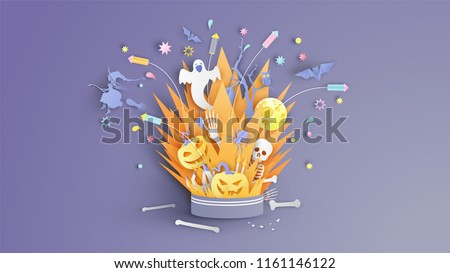 Illustration of bonfire art with decorations in Halloween. Graphic design for halloween festival. Greeting card for celebration on Halloween. Cute halloween. paper cut and craft style. vector. eps10