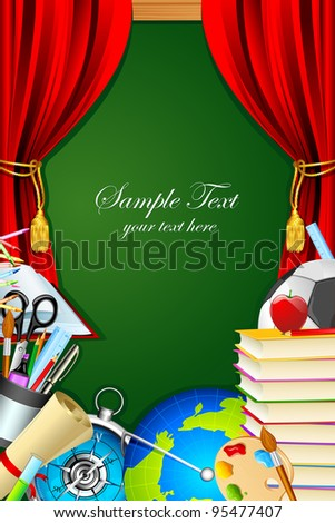 illustration of books with other stationery and chalk board on backdrop